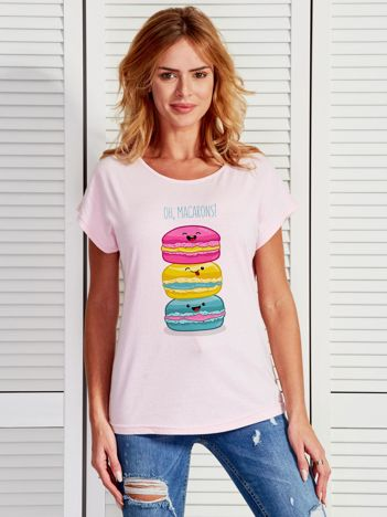 Jasnoróżowy t-shirt damski OH MACARONS