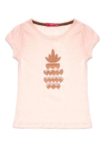 Jasnoróżowy t-shirt dla dziewczynki z różowym ananasem