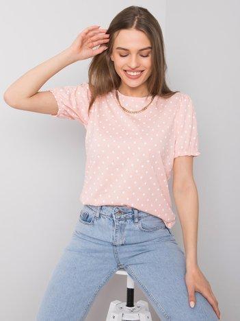 Jasnoróżowy t-shirt w groszki Enna