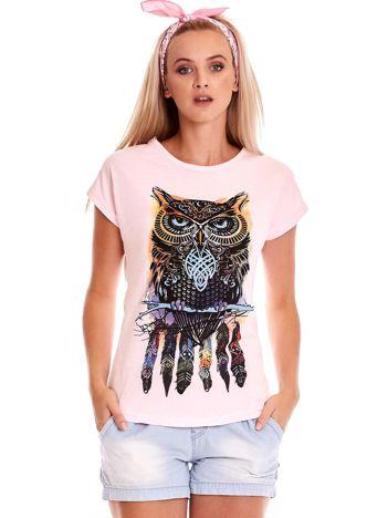 Jasnoróżowy t-shirt z sową