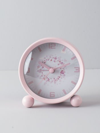 Jasnoróżowy zegarek stołowy