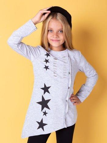 Jasnoszara asymetryczna tunika dziewczęca z gwiazdkami