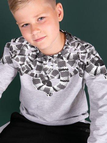 Jasnoszara bawełniana bluza dziecięca z nadrukiem węży