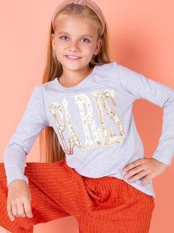 Jasnoszara bawełniana bluzka dziewczęca z napisem PARIS