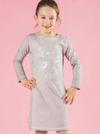 Jasnoszara bawełniana sukienka dziewczęca