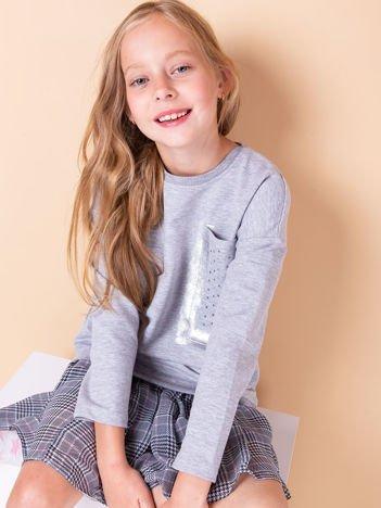 Jasnoszara bluza dla dziewczynki z kieszenią