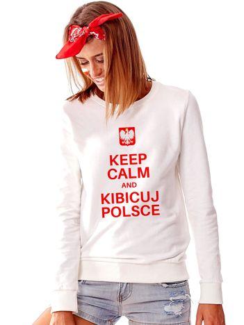 Jasnoszara bluza dla kibica z napisem