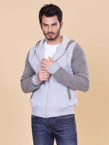 Jasnoszara bluza męska ze swetrowymi wstawkami