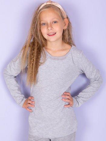 Jasnoszara bluzka dziewczęca basic