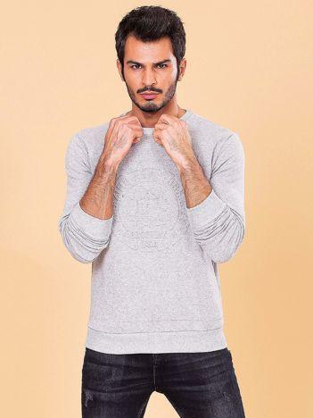 Jasnoszara męska bluza z wypukłym wzorem