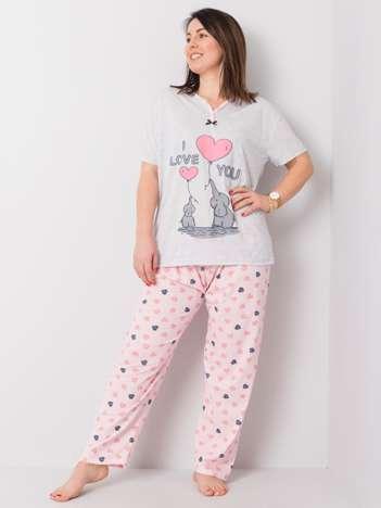 Jasnoszara piżama dwuczęściowa plus size