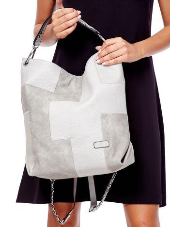 Jasnoszara torba-plecak z odpinanymi szelkami