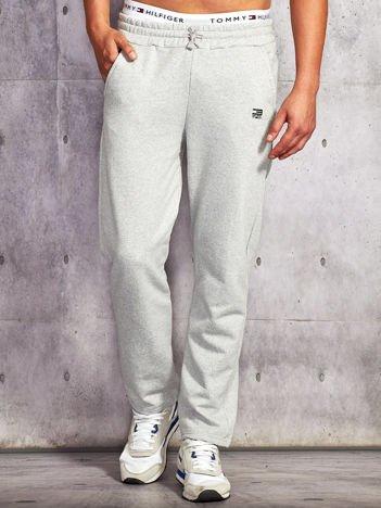 Jasnoszare spodnie dresowe męskie z troczkami