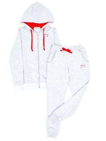 Jasnoszary dresowy komplet dla dziewczynki bluza i spodnie