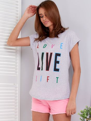 Jasnoszary t-shirt Live