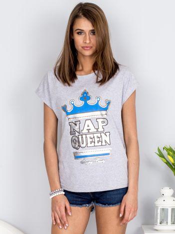 Jasnoszary t-shirt NAP QUEEN