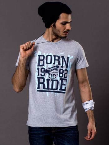 Jasnoszary t-shirt męski skater