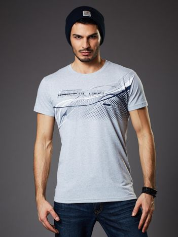Jasnoszary t-shirt męski z printem