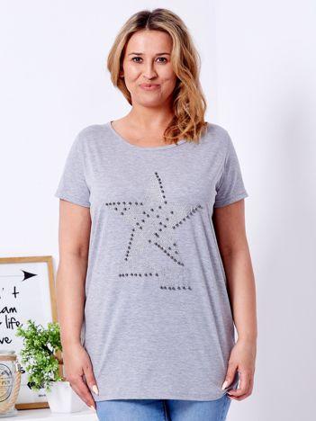 Jasnoszary t-shirt z błyszczącą gwiazdą PLUS SIZE