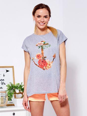 Jasnoszary t-shirt z kotwicą