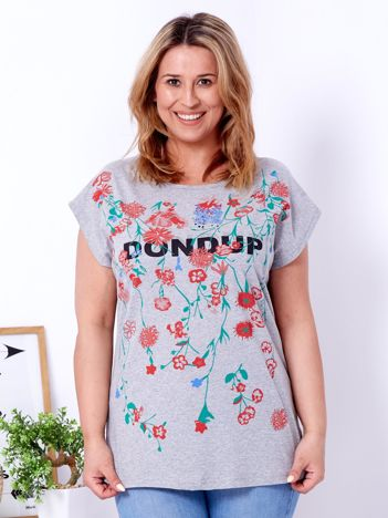 Jasnoszary t-shirt z printem PLUS SIZE