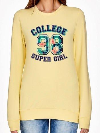 Jasnożółta bluza z napisem SUPER GIRL