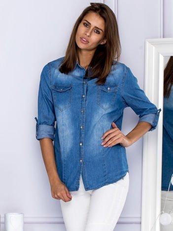 Jeansowa koszula z kieszonkami niebieska