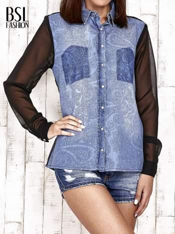 Jeansowa koszula z tiulowymi rękawami
