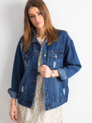 Jeansowa kurtka z przetarciami niebieska