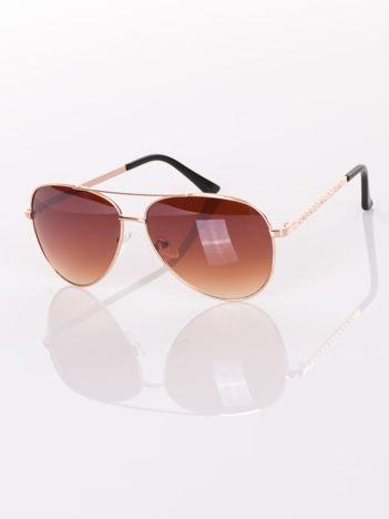 KLASYKA złote pilotki AVIATORY- okulary przeciwsłoneczne z cyrkoniami na zausznikach