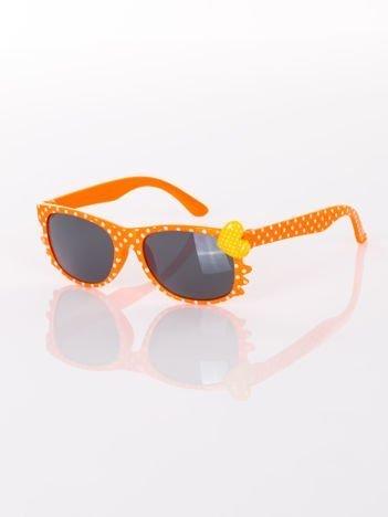 KOTEK Z SERCEM Dziecięce żywy pomarańczowy okulary typu WAYFARER w kropki z filtrami