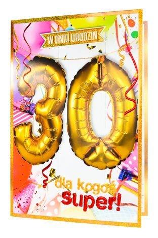 KUKARTKA Kartka urodzinowa 30 lat oraz zestaw balonów 40 cm do nadmuchania w jednym