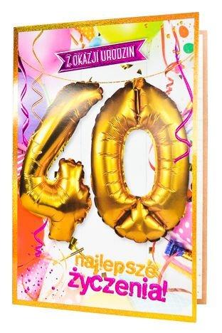 KUKARTKA Kartka urodzinowa 40 lat oraz zestaw balonów 40 cm do nadmuchania w jednym