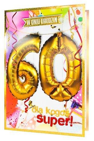 KUKARTKA Kartka urodzinowa 60 lat oraz zestaw balonów 40 cm do nadmuchania w jednym