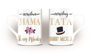 KUKARTKA Komplet kubków porcelanowych bogato zdobionych na prezent ślubny dla rodziców