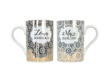 KUKARTKA Zestaw kubków Dla Idealnej Pary Wykonane z prawdziwej porcelany, oryginalnie zdobione i opakowane w elegancki kartonik prezentowy
