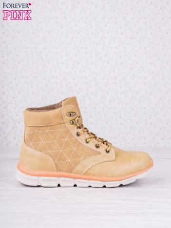 Karmelowe buty sportowe eco leather Hike z brązowymi skórzanymi wstawkami