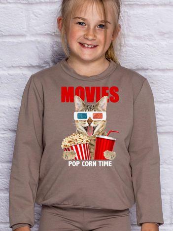 Kawowa bluza dziecięca z kotkiem i popcornem