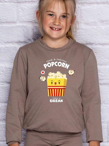 Kawowa bluza dziecięca z popcornem