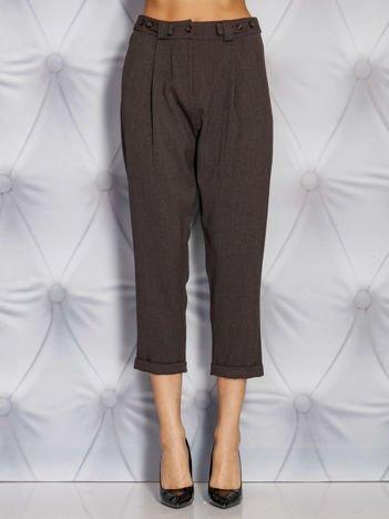 Kawowe szerokie spodnie materiałowe w delikatny prążek