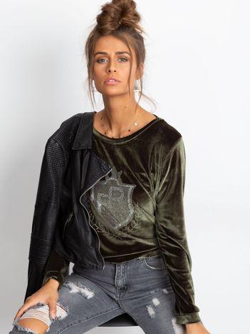 Khaki aksamitna bluza z herbem z dżetów