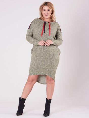 Khaki asymetryczna sukienka PLUS SIZE