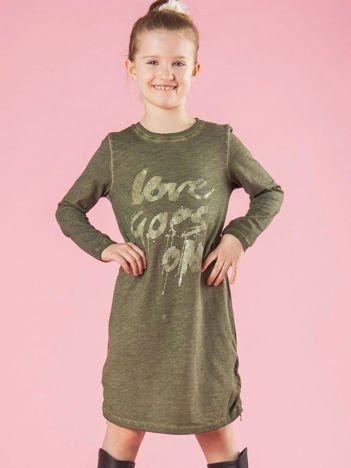 0dc22e9281 Khaki bawełniana sukienka dziewczęca