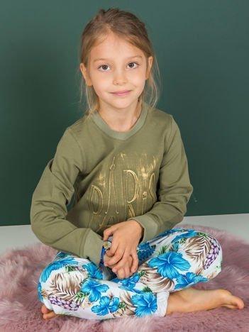 Khaki bluza dla dziewczynki z napisem