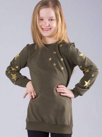 Khaki bluza dziecięca w gwiazdki