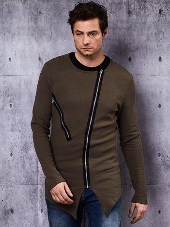 Khaki bluza męska z asymetrycznymi suwakami