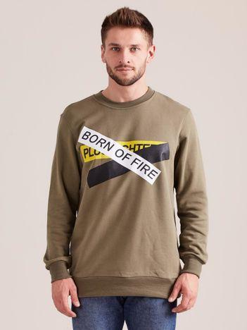 Khaki bluza męska z printem