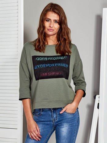 Khaki bluza z wypukłą wstawką