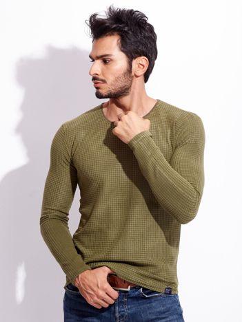 Khaki bluzka męska z geometryczną fakturą