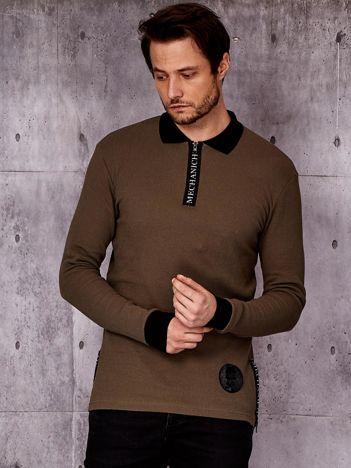 Khaki bluzka męska z kołnierzykiem i mankietami